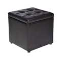 Black Faux Leather Ottoman