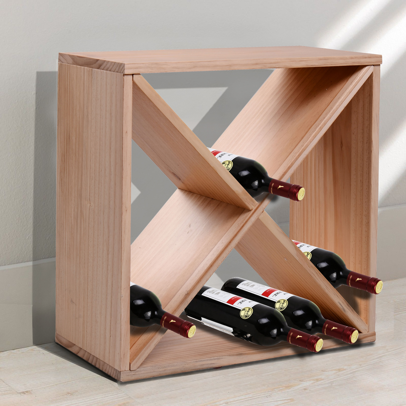 description the homcom rustic wine rack