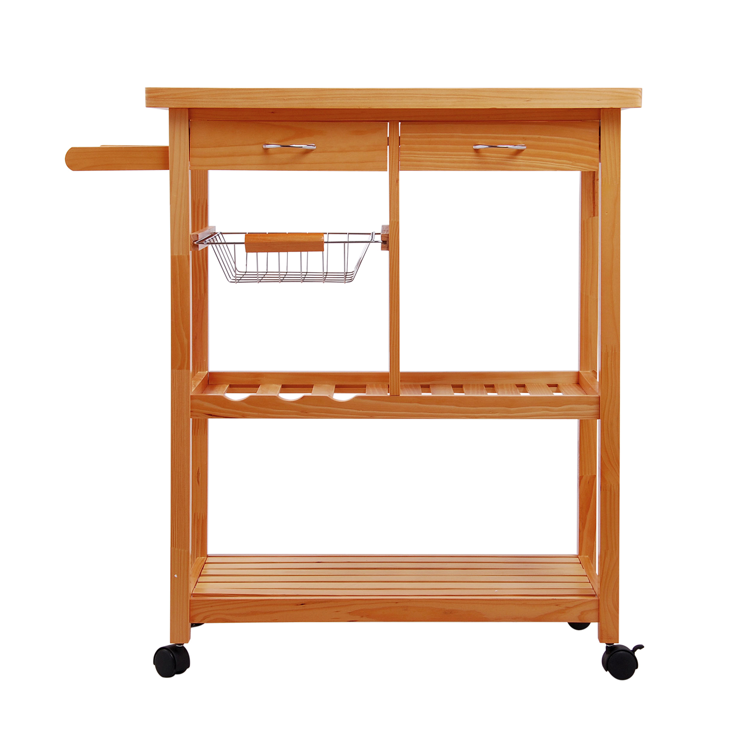 Homcom Portable Rolling Home Storage Cart Drawers Kitchen Table Trolley Wood