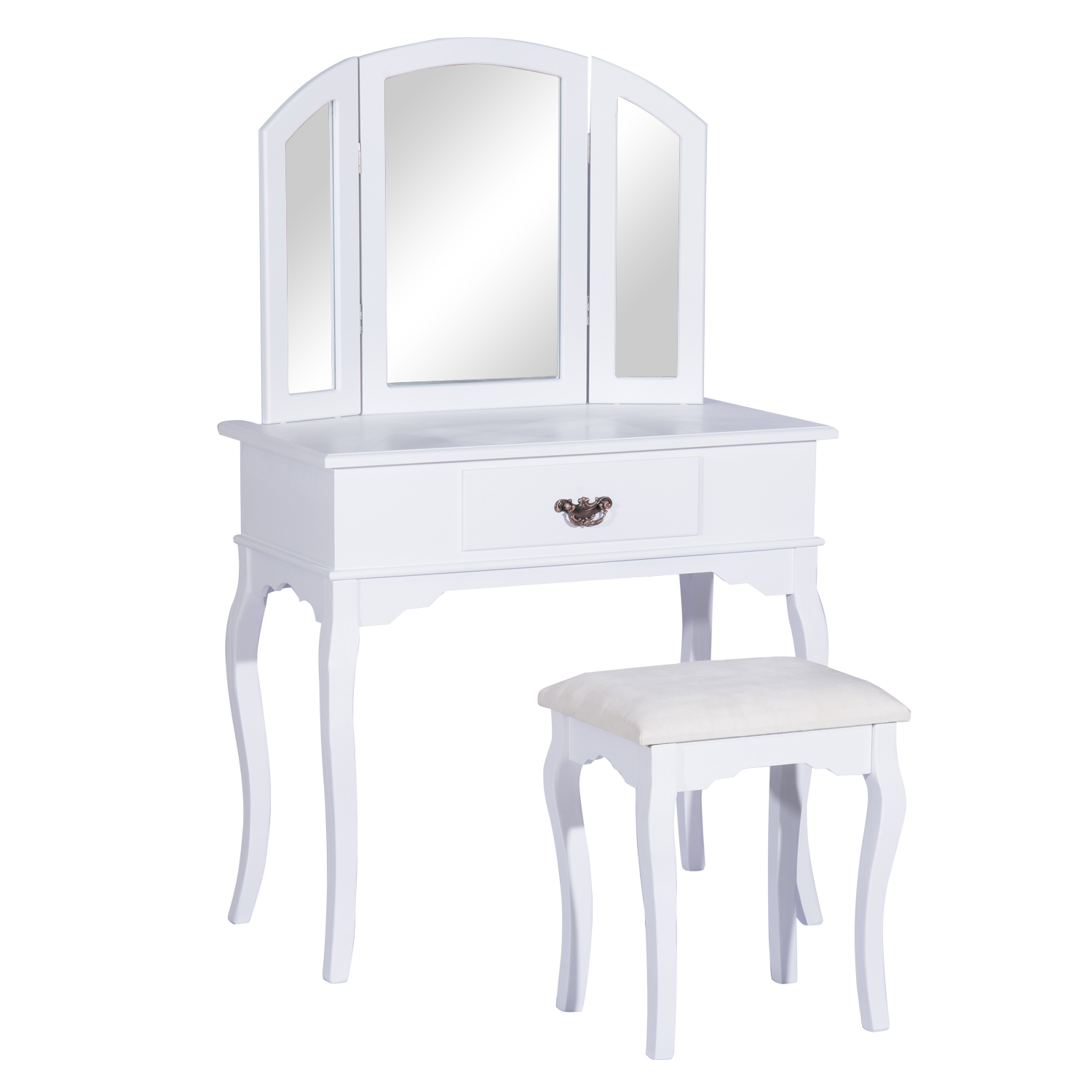 Homcom vanity set wood dressing table stool drawers bedroom makeup mirror white ebay - Stool for vanity table ...
